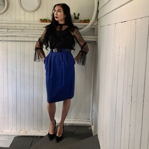 Royal blue high waisted pencil skirt